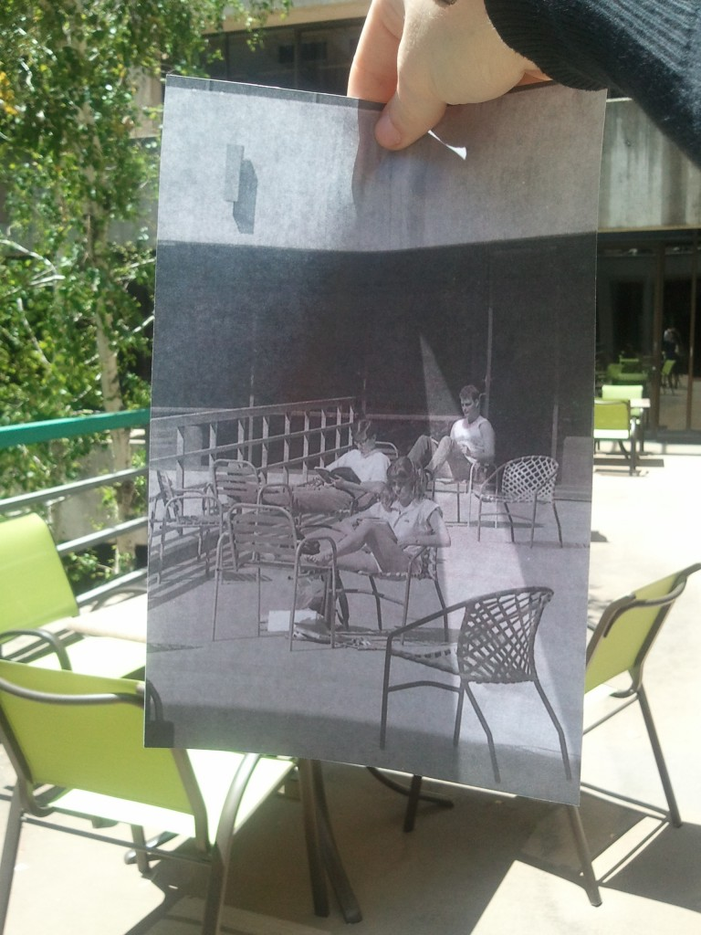 Photo of the patio in Kennedy Library in 1985 and today; Historic image (1985) courtesy University Archives