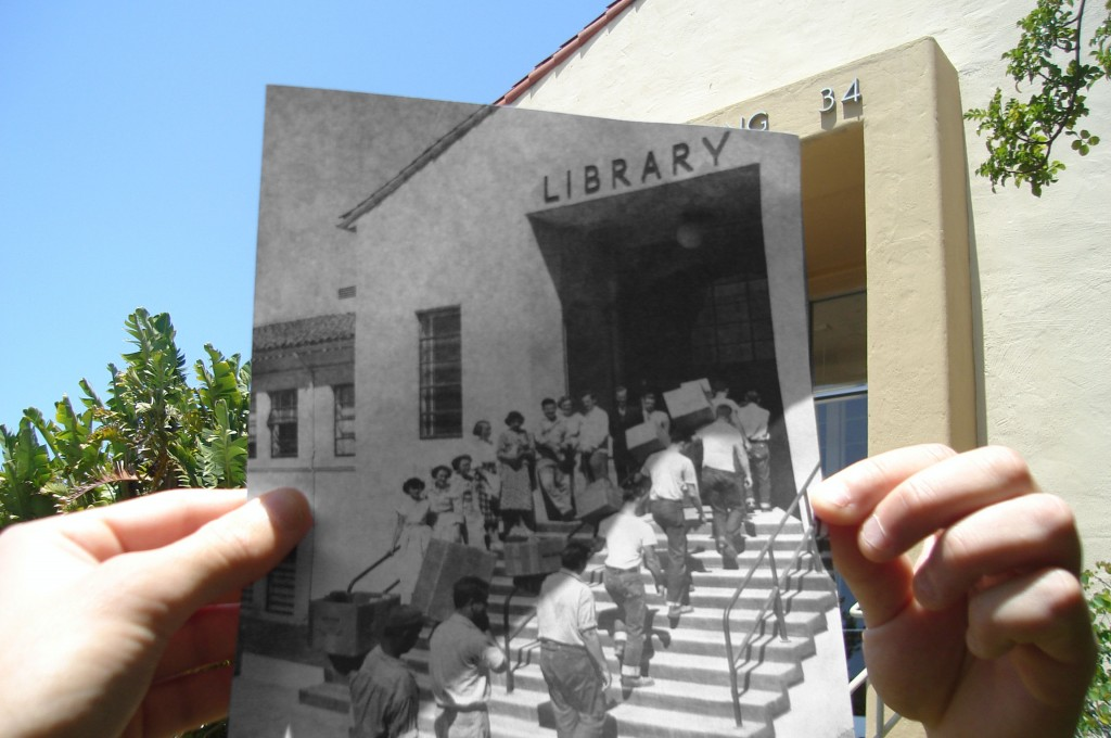 Photo of Dexter Library 1948 and today; Historic image (1948) courtesy University Archives
