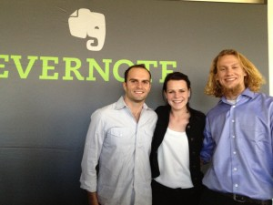 "Jack, Ali and Kevin stand side by side in front of ""Evernote"" logo."