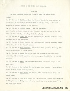First page of the Student Roads Committee's report, submitted to President McPhee, March 1942. Many street names the students recommended are still used throughout campus today. Julian A. McPhee Papers, University Archives, Cal Poly.
