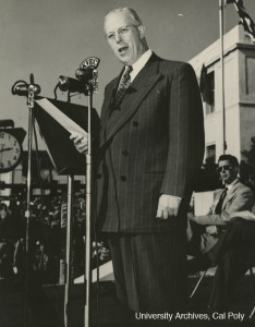 Earl Warren, the Governor of California, speaking at Cal Poly, May 1950. Julian A. McPhee Papers, University Archives, Cal Poly.