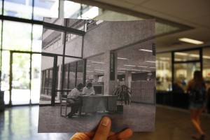 Photo of Kennedy Library atrium in 1980 and today; Historic image (1980) courtesy University Archives