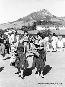 Black and white photo of Cal Poly, San Luis Obispo when women returned to campus, 1956.