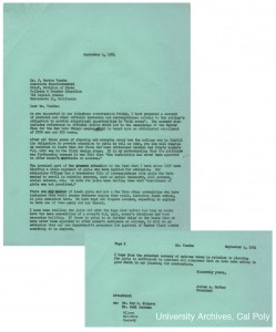 Scan of letter from president Julian A. McPhee to State Associate Superintendent Dr. J. Burton Vasche, 1954, regarding the enrollment of women at Cal Poly. Julian A. McPhee Papers, University Archives, Cal Poly.