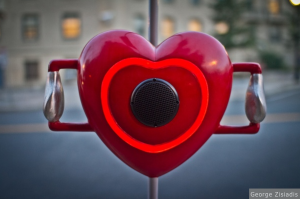 Photo of heart installation from Pulse of the City in Boston, by George Zisiadis