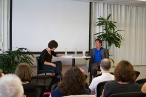 Photo of Jane Lehr and Lewis Call talking about his book