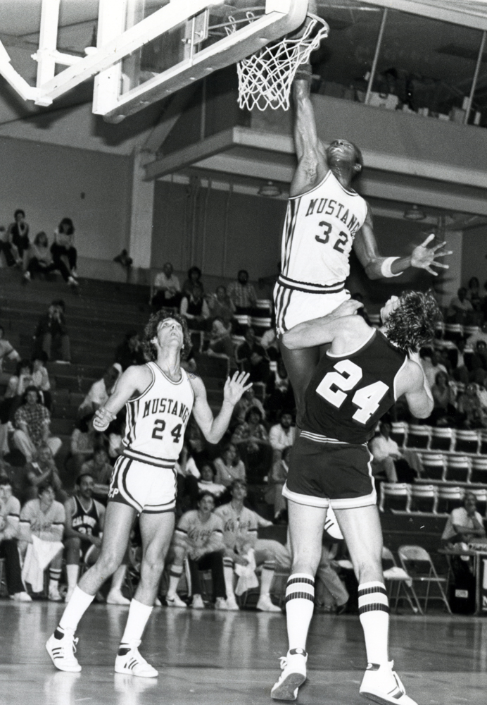 After more than thirty years, Kevin Lucas is still on the top-ten lists for field goals, free throws, and free throw percentage. Also pictured here is Ernie Wheeler Jr., who received CCAA Honorable Mention in 1980. (University Archives Photograph Collection, University Archives, ua-pho_00000833)