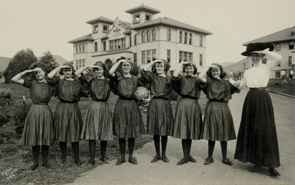 Cal Poly women's basketball team, 1909 (Aston Postcard Collection, University Archives, UA-PC-Aston-033)