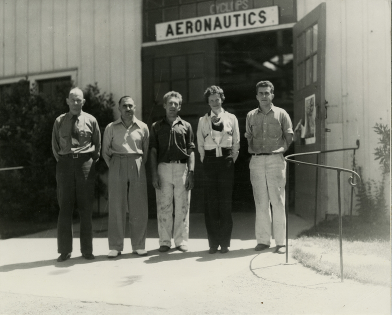 Famous pilot Amelia Earhart's visit to the Cal Poly Aeronautics Division, 1936. (University Archives Photograph Collection, University Archives, UA-Engineering-Aeronautics-Earhart-03)