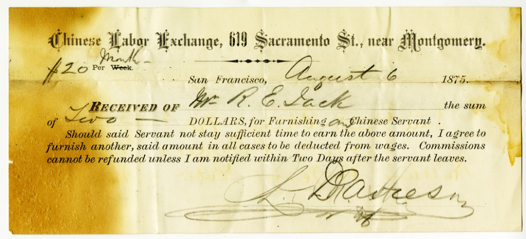 Receipt of the Chinese Labor Exchange, S.F., from R. E. Jack, 1875 (Jack Family Papers, Special Collections, California Polytechnic State University, 014_spc_000025)
