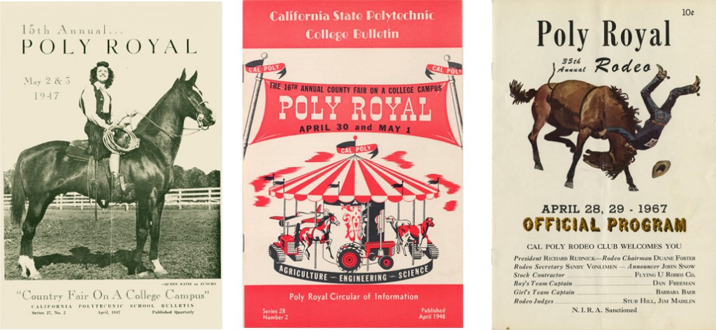 Examples of programs from events at Poly Royal in the 1940s and 1960s (Poly Royal Collection, University Archives).