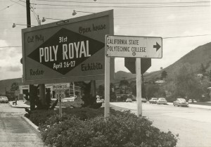 Billboard on Monterey Street welcomes campus visitors to Poly Royal, 1963 (University Archives Photograph Collection, University Archives)