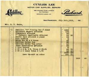 Receipt for Jack's Cadillac Touring Car, 1909 (Jack Family Papers, Special Collections, California Polytechnic State University, 014_spc_000033)