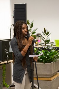 Brianti Williams sings at the reception