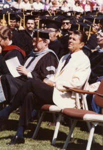 Reagan applauds new Cal Poly graduates after giving his commencement address,1974 (University Archives Photo Collection, University Archives, California Polytechnic State University, ua-pho_00000967).
