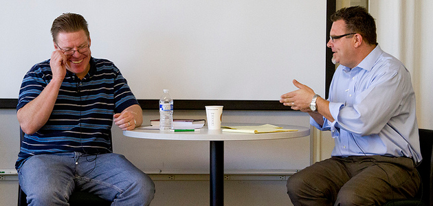 Photo of Ron Den Otter and Jude Egan at Cal Poly Authors