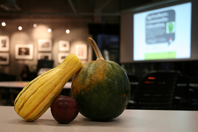 A photo of two gourds and an apple on a table.
