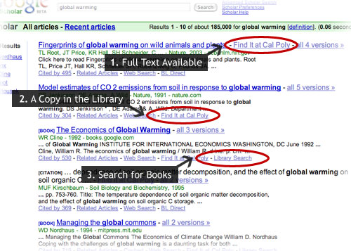 Screenshot of Cal Poly Google scholar