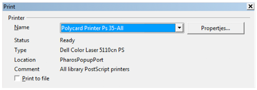 screenshot of printbox and properties button
