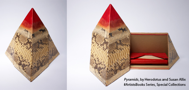 Photo of artist book called Pyramids by Herodotus and Susan Allix