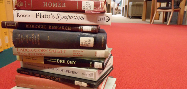 Photo of biology and philosophy books in Kennedy Library
