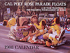 "A commemorative calendar features the 1988 Cal Poly entry, ""Bubble Trouble,"" winner of the Founder's Trophy."