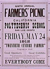A 1912 broadside welcoming the community to the ninth annual Farmers' Picnic, a forerunner to Poly Royal.