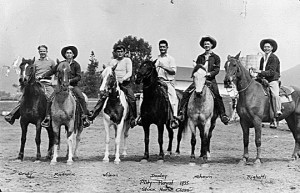 Elwyn Righetti (far right) and five of his classmates at the Stock Horse Class judging event at the third annual Poly Royal, 1935.