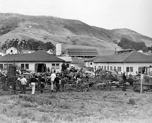 Local merchants displayed tractors, haybalers, harrows, and other farm equipment to 1939 Poly Royal visitors.