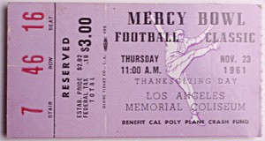 A ticket to the Mercy Bowl, a benefit for the Cal Poly Student Memorial Fund.