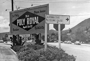 Billboard on Monterey Street welcomes campus visitors to Poly Royal, 1963.