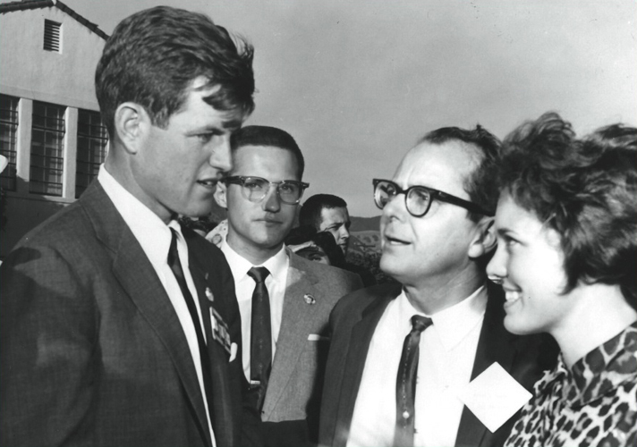 Senator Ted Kennedy during a 1962 campaign stop at Cal Poly. Pictured with Robert E. Kennedy and daughter Maridel.