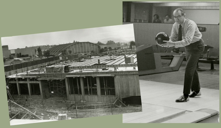 Construction of College Union (later McPhee University Untion), 1970 [left]; Kennedy at the opening of Mustang Lanes, 1971 [right]
