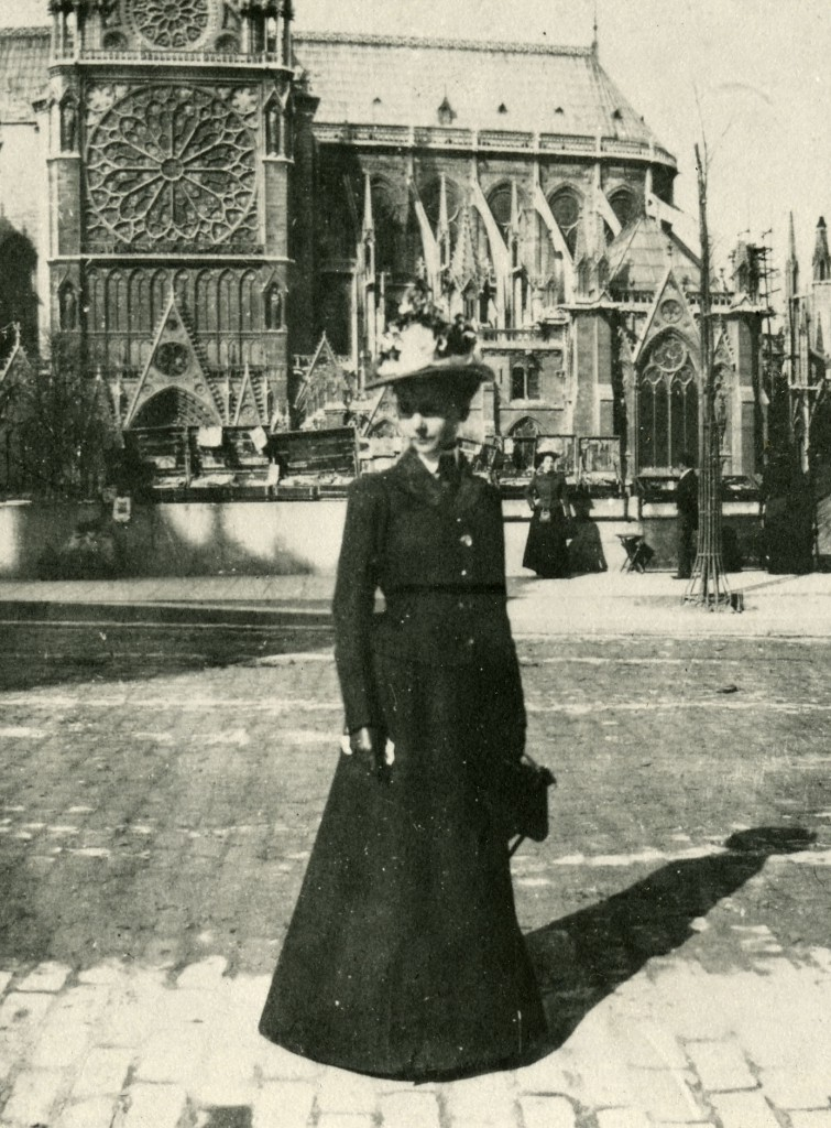 Detail of photographic portrait of Julia Morgan, at Notre Dame, Paris, 1901