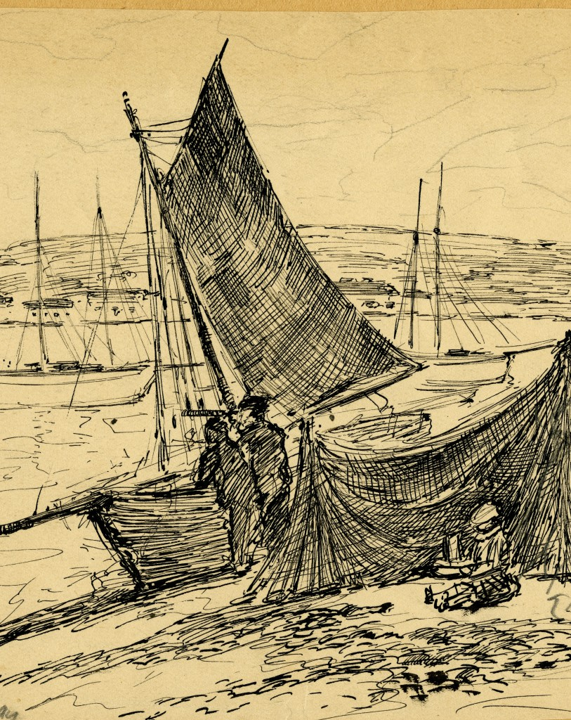 Detail of a sketch drawn by Camille Solon
