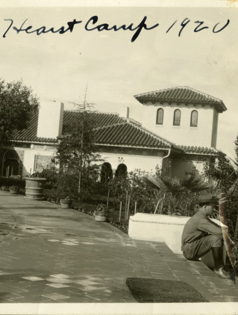 Detail of photograph depicting Hearst Camp 1920 [view from Esplanade, entrance to C House, Hearst Castle, c. 1930]