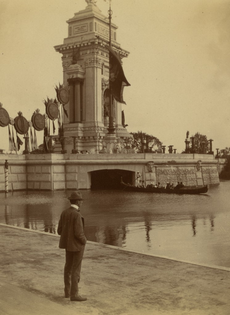 Detail of a photograph depicting the Triumphal Bridge, side view