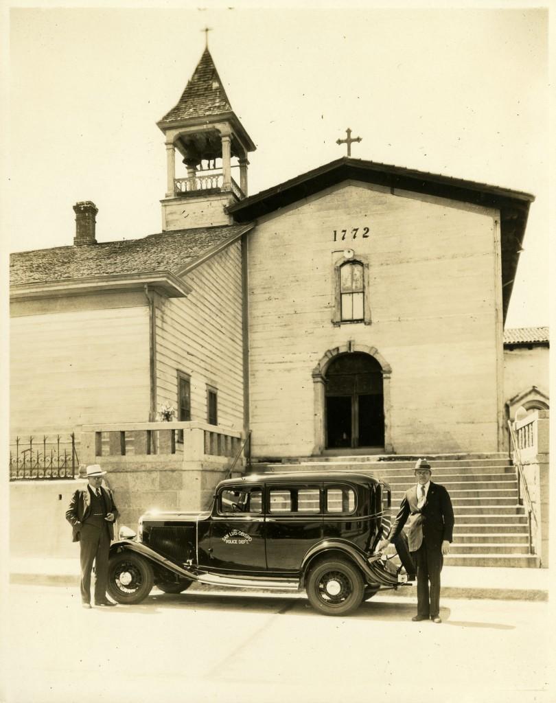 San Luis Obispo Police outside Mission San Luis Obispo, circa 1930
