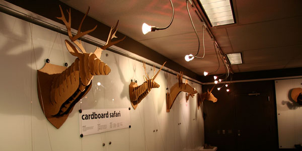 Laser-cut cardboard safari animals