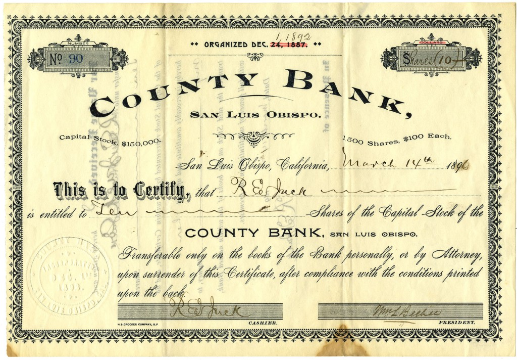 Shareholder R.E. Jack's stock certificate for shares of the County Bank of San Luis Obispo, 1896 (Jack Family Papers, Special Collections, California Polytechnic State University, 014_spc_000019)