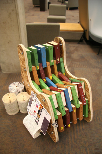 Reclaimed books chair, Courtesy Kennedy Library.