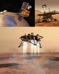 Artist's concept drawings of Mars Odyssey, Rover, and Phoenix Lander Missions, confirming evidence of past liquid water and current water ice on Mars. Image Credit: JPL/NASA Phoenix Mars Lander Mission at the University of Arizona