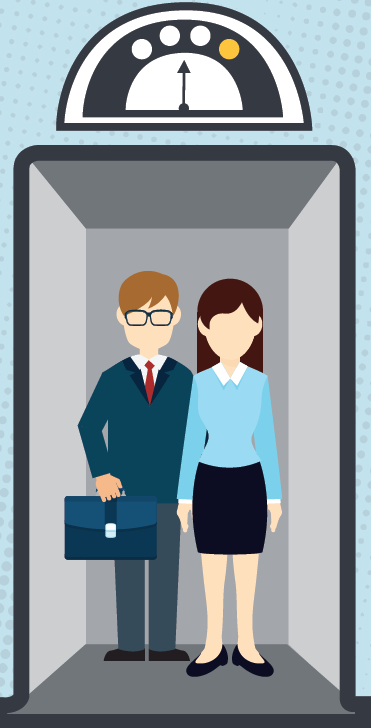 Image of two people in an elevator