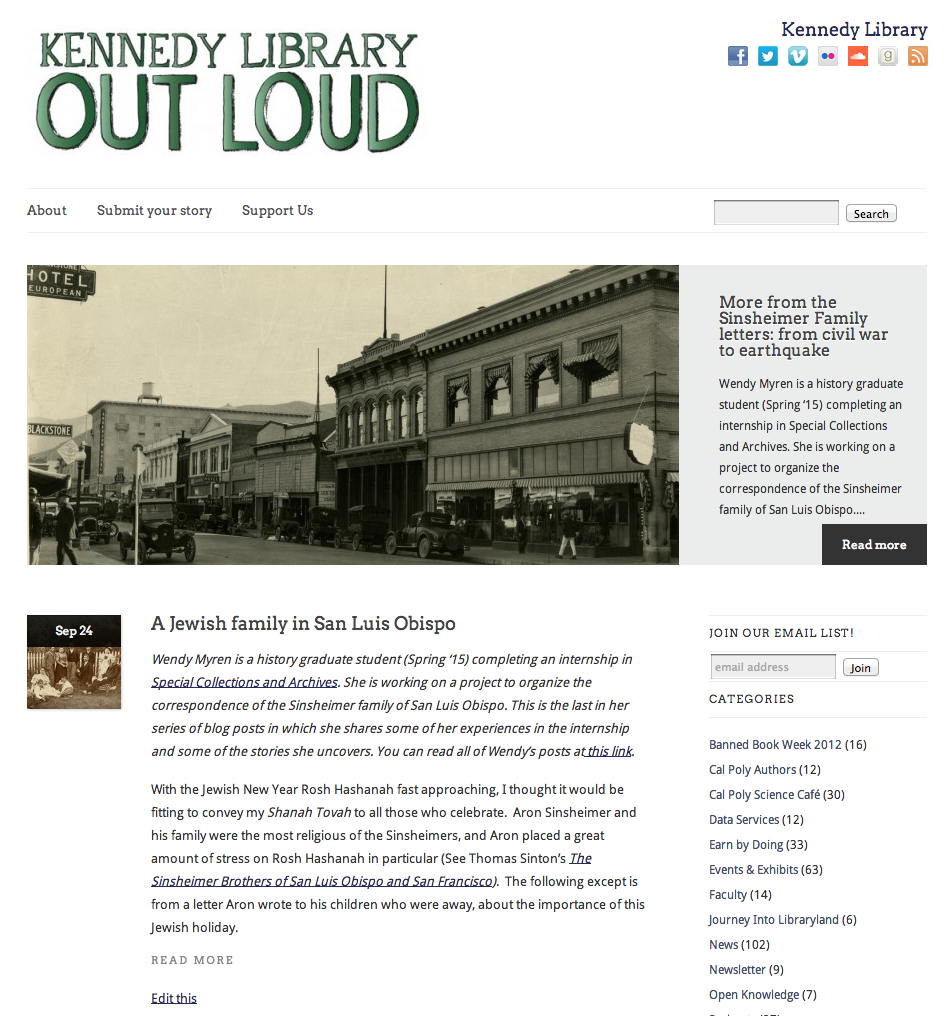 A snapshot of the blog's previous layout.