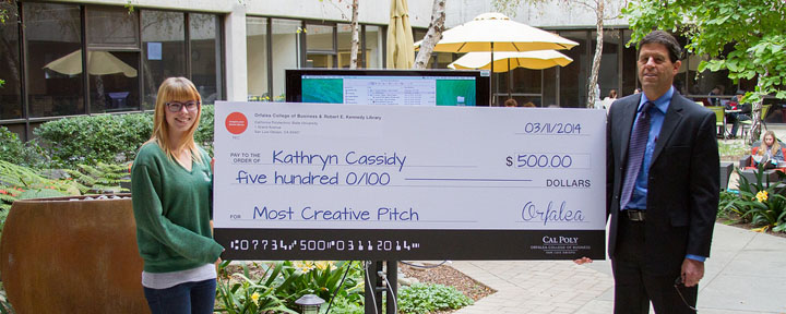 "Kathryn Cassidy won ""Most Creative"" in the Pitch Perfect Video Competition."