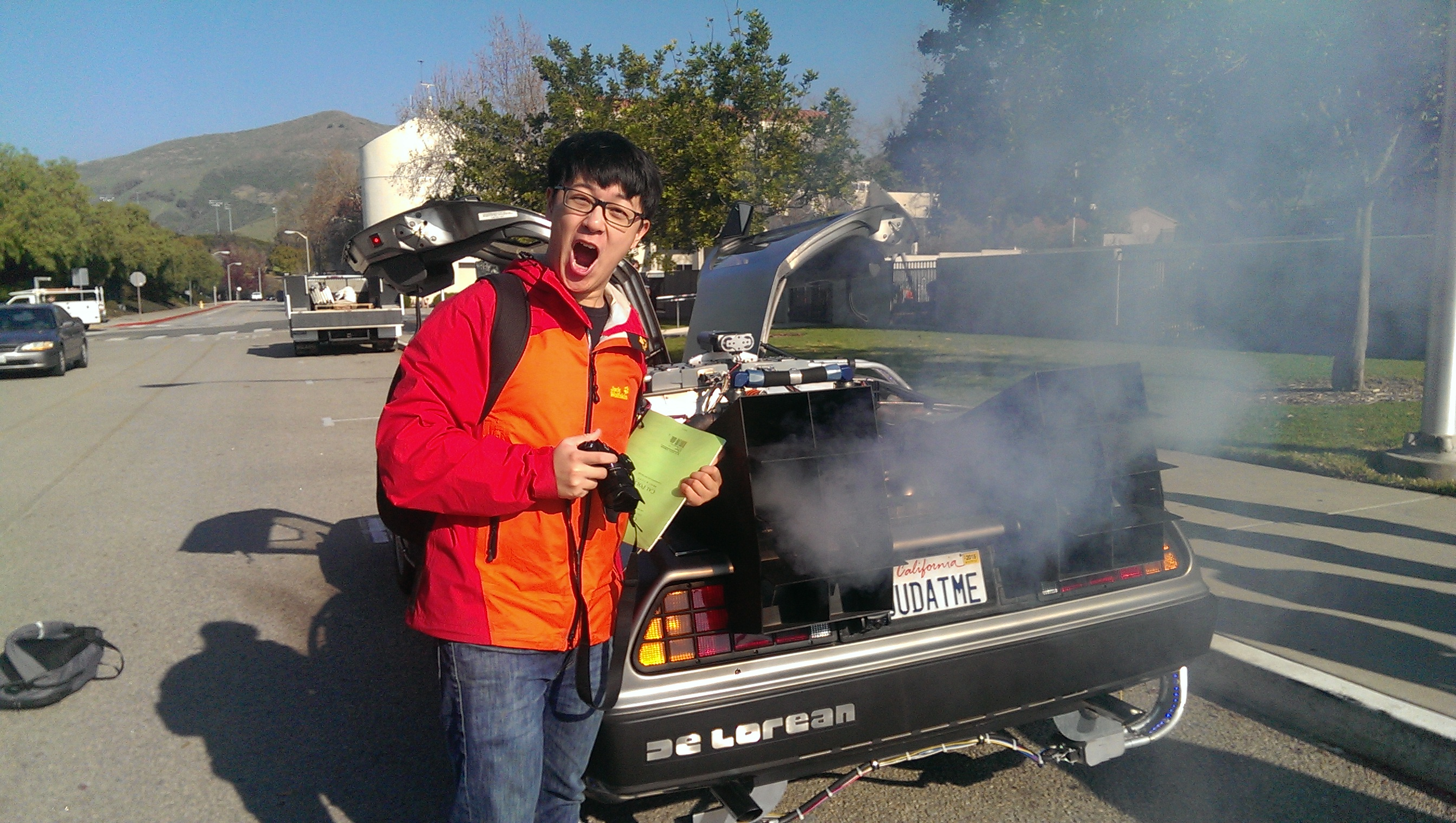 Student with DeLorean Time Machine