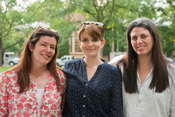 L to R, screenwriter Karen Croner, actress Tina Fey, novelist Jean Hanff Korelitz