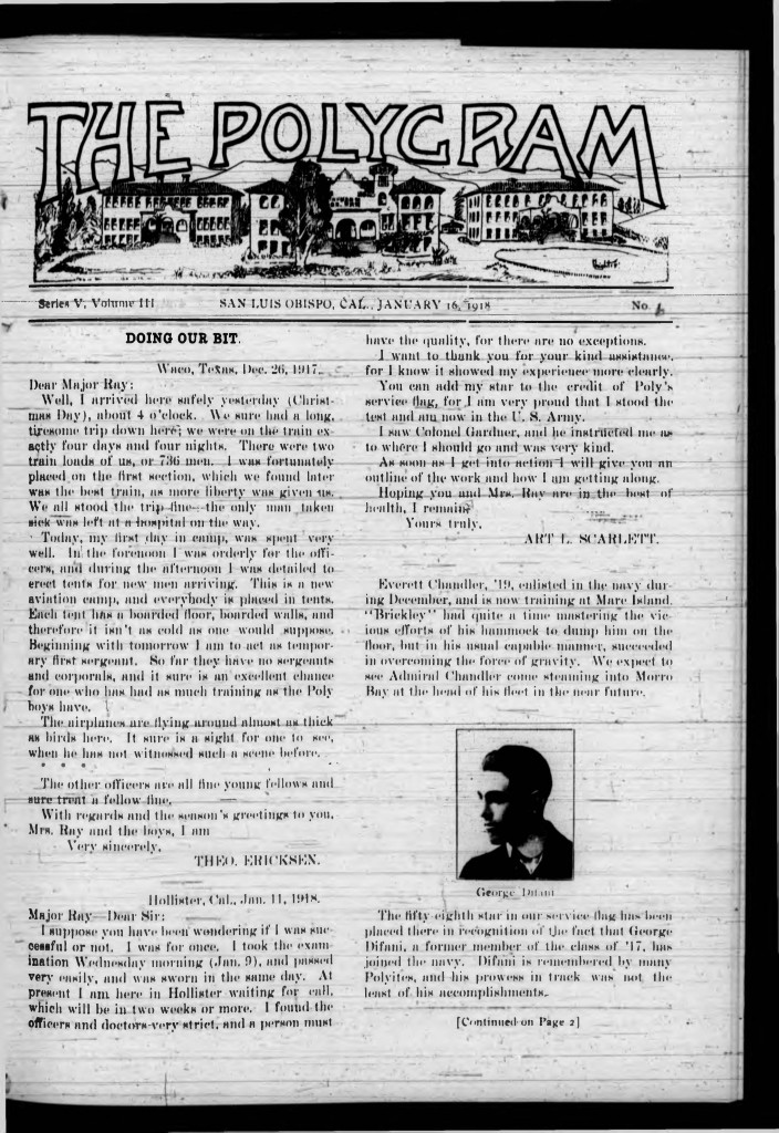 Front page of The Polygram, January 16, 1918