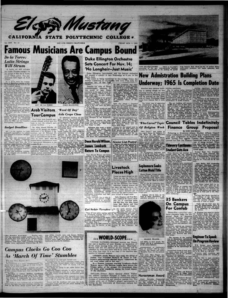 Busy news day: Duke Ellington, a new Administration Building, and the clock tower are all featured on the front page of the El Mustang, Nov. 9, 1962.