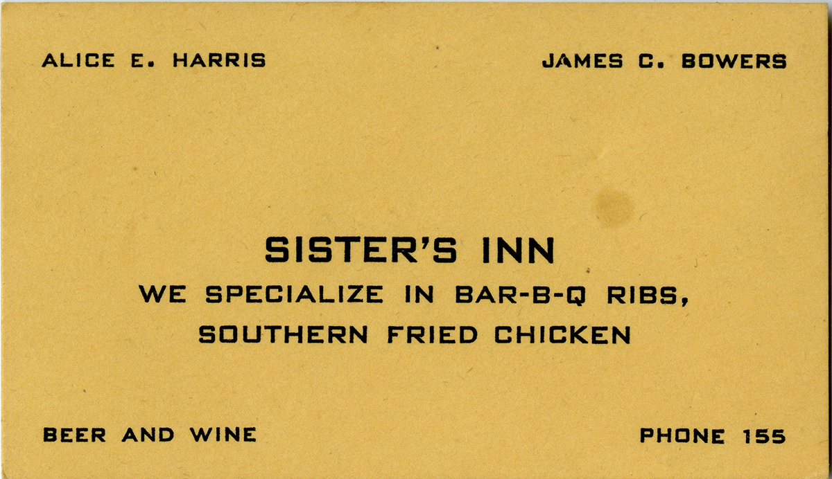 Business card for Sister's Inn. City directories show that the business was in operation from about 1954 to 1965. (Sister's Inn Collection, Special Collections and Archives, California Polytechnic State University, 189_spc_000001)